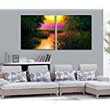 2 Painting Sets Of A Beautiful Morning Glow Sunrise Canvas Oil Painting Print With Wooden Mounting | Printasia...