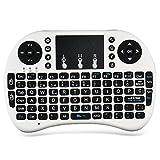 Zenoplige 2.4G Mini i8 (Diseño Español) Multifunción Portable teclado inalámbrico y ratón para PC, PAD, XBox 360, PS3, Google Android TV Box, HTPC, IPTV con Batería Desmontable Touchpad, Color Blanco
