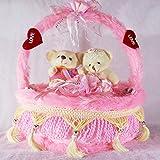 Pink Heart Cake Plush Cushion With Love Couple Teddy Bears