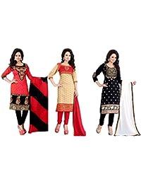 Shiroya Brothers Women's Cotton Printed Unstitched Regular Wear Salwar Suit Dress Material(SB_Dresses_108) (Combo...