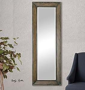 Amazon.com - Burnished Pine Wood Full Length Mirror | Wall ...