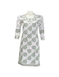 Imperial Chikan Women Cotton Chikankari White Kurti - B00QXFBZOG