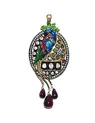 Gehna Ruby, Garnet & T-Savorite Gemstone Studded Peacock Shape Pendant Set