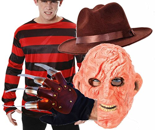 Freddy Krueger Halloween Fancy Dress Costume Top, Hat Glove & Burnt Face Mask