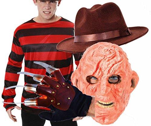 Freddy Krueger Halloween Fancy Dress Costume Top, Hat Glove & Burnt Face Mask