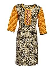 Global Women's Cotton Straight Kurta (GW60Beige42015, Beige, 42)