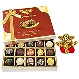 Chocholik Belgium Chocolates - Sweet Treat Of 20pc Truffle Box With Small Ganesha Idol - Diwali Gifts
