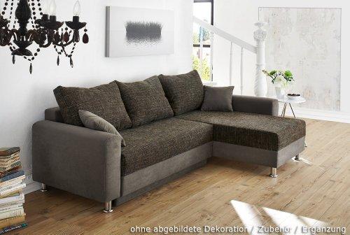 Komplette Wohnlandschaft, Korpus grau, Sitzfläche braun meliert inkl. Ottomane, Schlaffunktion, Bettkasten, Schenkelmaße: ca. 235/160 cm