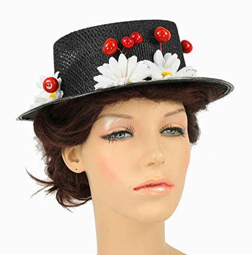 Mary Poppins Hat with Cherries and Daisies