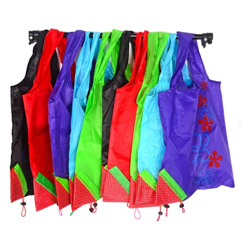 Easyhome Reusable Folded Into A Strawberry Shopping Tote Bag Set Of 12 (Multi-colors)