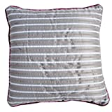 Homeblendz Polyester Seersucker Strips Design Grey/brown/white 40x40 Cushion Cover
