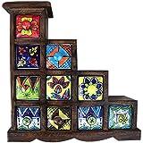 10 Drawer Handmade Chest Of Wooden Frame Spice Box Masala Jar Rack Drawer Multicolor Handmade Painting Pattern...