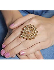 Beautiful Antique Gold Adjustable Ring For Women Wedding Jewelry