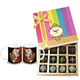 Chocholik Belgium Chocolates - Dark Flavour Truffle Collection Gift Box With Diwali Special Coffee Mugs - Gifts...