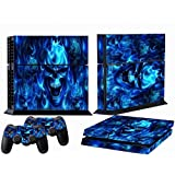 Blue Skull Fire Decal Dark Skin Sticker For Playstation 4 PS4 + 2 Controller Cover