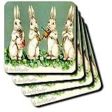 3dRose Cst_100675_2 Vintage Bunnies Wish A Joyful Easter Soft Coasters, Set Of 8
