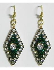 DollsofIndia Stone Setting Earrings - Stone And Metal - Green