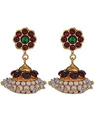 Preethi Gold Plated Gold Metal Jhumki Earrings For Women (Preethi_15)