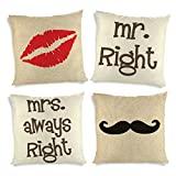 ShopMantra Mr And Mrs Always Right Printed Cushion Cover- Set Of 4 16*16 Inch Multicolor Cushion Cover