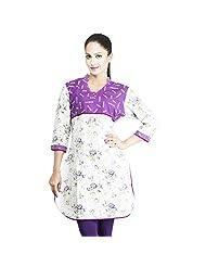 Rama Designer Cotton White Floral Print Women's Straight Kurta (14RAMA1421011)