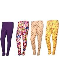 IndiWeaves Womens Cotton Churidar Leggings Combo Pack(Pack Of 3 Printed Leggings And 1 Solid Leggings)-Multicoloured-Free... - B07419QCC6