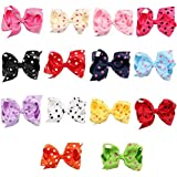 Bzybel Baby Girls Boutique Polka Dots Print Big Hair Bows Hair Clips For Girls Young Women Hair Barrettes Alligator...