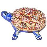 Rajgharana Handicrafts Multi Color Metal Meenakari Delightful Tortoise - (12 Cm X 9 Cm)