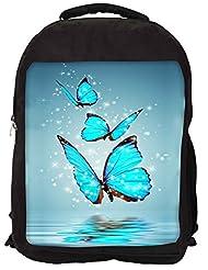 Snoogg Blue Butterfly Digital Backpack Rucksack School Travel Unisex Casual Canvas Bag Bookbag Satchel