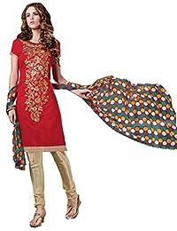 Manvaa Red Chanderi Silk Salwar Suit With Printed Dupatta