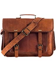 """Goatter Genuine Leather Laptop Messenger Bag Three Pocket For Boys And Girls, Five Compartments L 16"""" * H 12""""..."""
