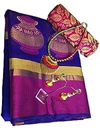 Clickedia Cotton Saree (Tusser Blue Pink Saree_Blue Pink)
