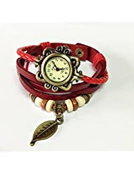 EDealz Vintage Off White Dial Leaf Pendant Red Leather Analog Women's Watch LF63A-1AV