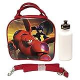 New 2014 Hit Movie Disney Big Hero 6 Baymax Hero Lunch Box Bag W/ Shoulder Strap + Water Bottle - Red