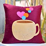 Coffe With A Splash Of Hearts- Bright Colours And Beautifully Etched Motif In Velvet
