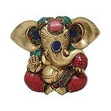 Odishabazaar Golden & Red Brass Ganesha 16x7x11 Cm