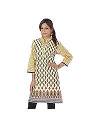 Jaipur RagaExclusive Floral Design Hand Block Printed Beige Pure Cotton Kurti