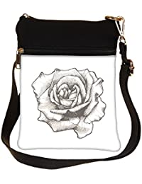 Snoogg Hand Drawn Rose Vector Illustration Cross Body Tote Bag / Shoulder Sling Carry Bag