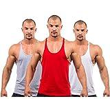 3 X Dk Active Wear BODY BUILDING STRINGER VEST, GYM / STRINGER VEST (Grey,Red,White) MEDIUM