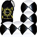 5x Pro Thud Juggling Balls - Deluxe (LEATHER) Professional Juggling Ball Set Of 5 + Fabric Travel Ba