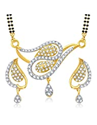 VK Jewels Peacock Design Gold And Rhodium Plated Mangalsutra Pendant With Earrings-MP1022G [VKMP1022G]