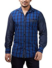 Rapphael Full Sleeve Slim Fit Blue Checked Slim Fit Shirt For Men