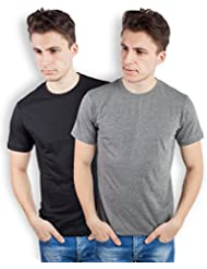 TOMO Men's Cotton Solid Color Round Neck T-shirt Combo Pack Of 2 - B00ZRLDLLW