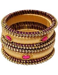 Kiranya Creations Purple Plastic & Silk Thread Bangle Set For Women - Set Of 6 (Size: 2.4, KRC_04)