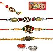 AR Design Traditional Religious Raksha Bandhan 3 Rakhi Gift Combo With Free Chuda Rakhi, Set Of 4 Rakhi