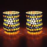 EarthenMetal Handcrafted Orange & Blue Polka Decorated Tealight Holder (Candle Light Holder)- Set Of 2