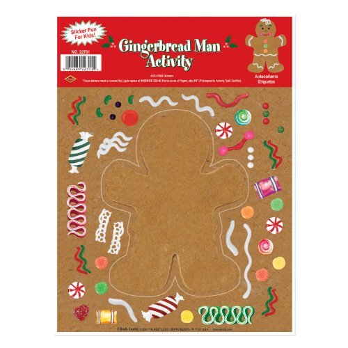 Gingerbread Man Sticker Activity Party Accessory (1 count) (1 Sh/Pkg)