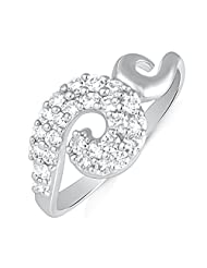 Mahi Rhodium Plated Unique Curve Finger Ring With CZ For Women FR1100500R