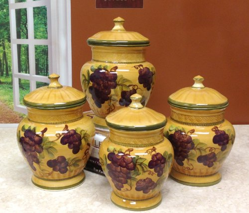 decorative canister sets kitchen tuscany grapes kitchen decor 17162