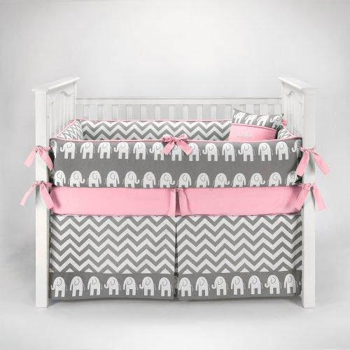 Zig Zag Pink And Gray Chevron Crib Bedding Collection
