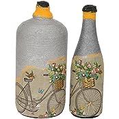 Maruti Handicrafts Glass Cycle Print Vase Set (Grey, Pack Of 2)